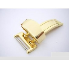16mm gold tone deployment buckle for 18mm leather watch band strap