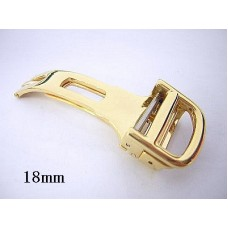 18mm gold tone deployment buckle for 20mm leather watch band strap